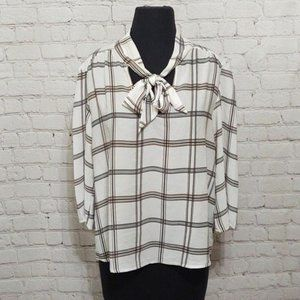 W-5 Plaid 3/4 Sleeve Necktie Blouse